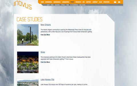 Screenshot of Case Studies Page inovussolar.com - Case Studies | Inovus - captured Sept. 16, 2014
