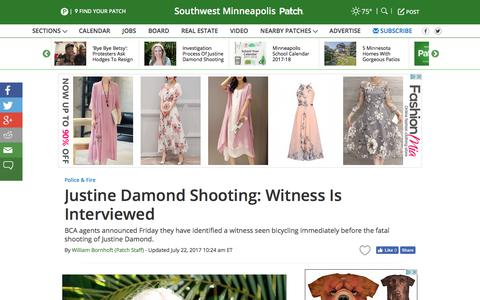 Screenshot of patch.com - Justine Damond Shooting: Witness Is Interviewed - Southwest Minneapolis, MN Patch - captured July 22, 2017