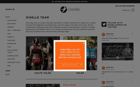 Screenshot of Team Page oiselle.com - Oiselle Volée | Oiselle Running Apparel for Women - captured Sept. 1, 2016