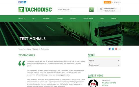 Screenshot of Testimonials Page tachodisc.co.uk - Testimonials | Tachodisc - captured June 11, 2017