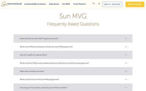 Screenshot of FAQ Page suninternational.com - Sun MVG Frequently Asked Questions | Sun International - captured Oct. 26, 2017