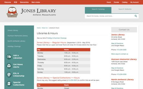Screenshot of Hours Page joneslibrary.org - Libraries & Hours | Jones & Branches - Public Libraries - Amherst, MA - captured Sept. 20, 2018