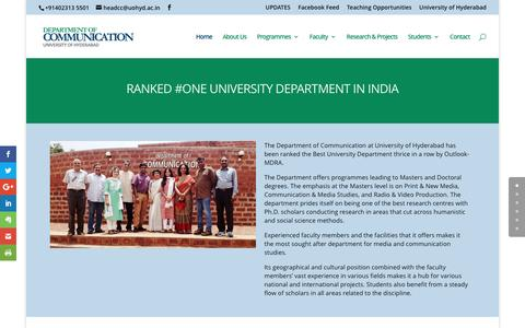 Screenshot of Home Page commuoh.in - Department of Communication-University of Hyderabad - captured March 19, 2017