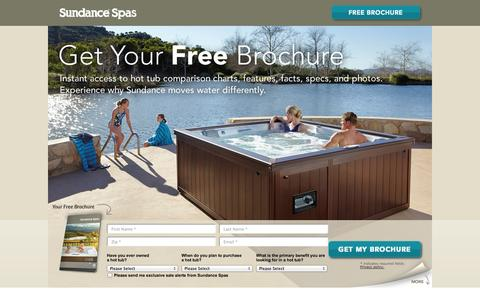 Screenshot of Landing Page sundancespas.com - Hot Tub, Spa Brochure - Sundance Spas - captured Oct. 27, 2014