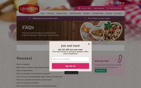 Screenshot of FAQ Page linwoodshealthfoods.com - FAQs | Linwoods US - captured Feb. 4, 2016