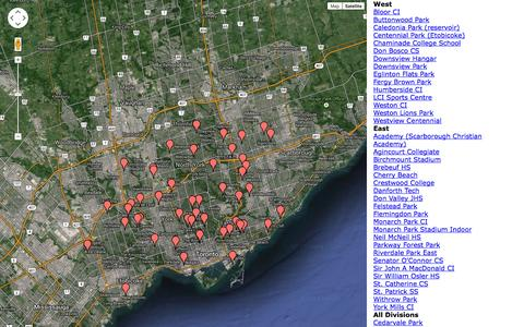 Screenshot of Maps & Directions Page tuc.org - All Fields : Zuluru : Toronto Ultimate Club - captured Sept. 19, 2014