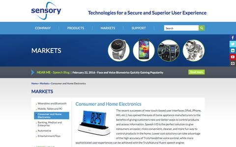 Screenshot of sensory.com - Consumer and Home Electronics | Sensory - captured March 19, 2016