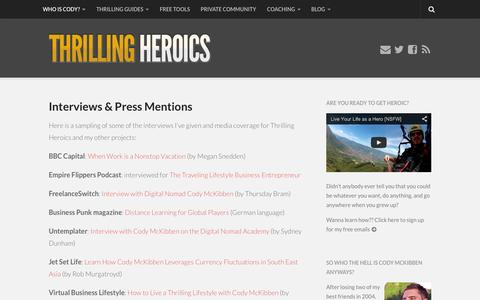 Screenshot of Press Page thrillingheroics.com - Interviews & Press Mentions | Thrilling Heroics - captured Sept. 22, 2014