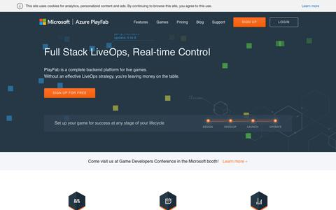 Screenshot of Home Page playfab.com - Microsoft Azure PlayFab   Full Stack LiveOps, Real-time Control - captured March 17, 2019