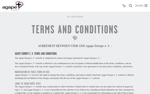 Screenshot of Terms Page agapeeurope.org - Agape Europe - captured Sept. 30, 2014