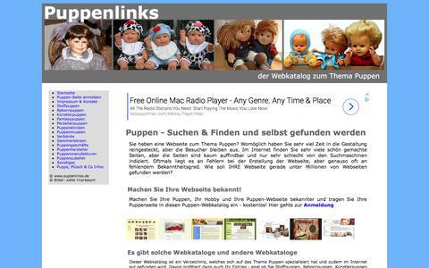Screenshot of Home Page Site Map Page puppenlinks.de - Puppenlinks - Puppen im Web - captured June 27, 2018