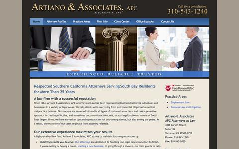 Screenshot of Home Page Maps & Directions Page artianolaw.com captured Oct. 4, 2014