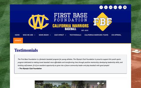 Screenshot of Testimonials Page firstbasefoundation.org - Testimonials – First Base Foundation - captured Aug. 13, 2018
