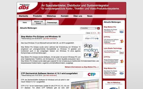 Screenshot of Press Page dbsys.de - Aktuelle Meldungen - DBS GmbH - captured Aug. 10, 2015