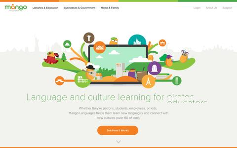 Screenshot of Home Page Products Page mangolanguages.com - Online language learning for organizations and individuals. - captured Oct. 8, 2015