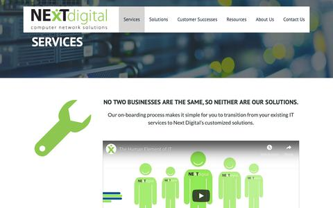Screenshot of Services Page nextdigital.ca - IT Services – Next Digital - captured Oct. 20, 2018
