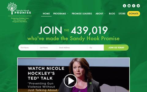 Screenshot of Home Page sandyhookpromise.org - Sandy Hook Promise - captured Aug. 29, 2015