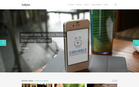 Screenshot of Home Page sobytes.com - So Bytes Limited - Mobile Application Development - Web Services - captured Oct. 6, 2014