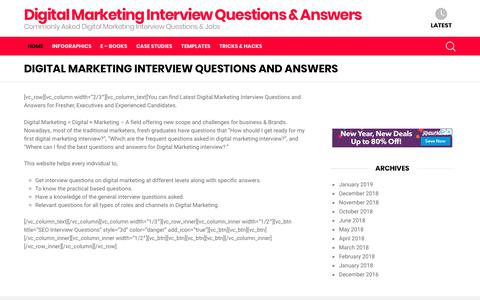 Screenshot of Home Page digitalmarketinginterview.com - Digital Marketing Interview Questions and Answers : Crack Interviews - captured Jan. 8, 2019