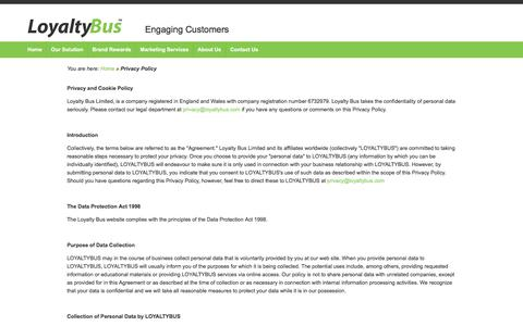 Screenshot of Privacy Page loyaltybus.com - Privacy Policy - captured Feb. 1, 2016
