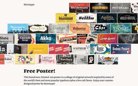 Screenshot of Landing Page monotype.com - Free Poster! - captured Sept. 11, 2017