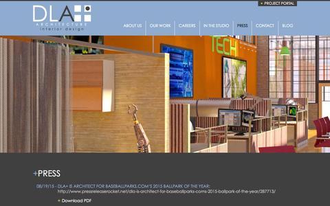 Screenshot of Press Page dlaplus.com - Press | DLA+ Architecture & Interior Design - captured Nov. 12, 2015