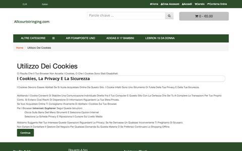 Screenshot of Login Page allcourtstringing.com - Utilizzo dei Cookies : allcourtstringing.com - captured Nov. 6, 2018