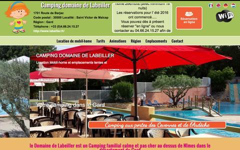 Screenshot of Home Page labeiller.fr - Camping Domaine de Labeiller 4 étoiles Cévennes Ardèche Saint Victor de Malcap, Gard (30) - captured Jan. 20, 2016