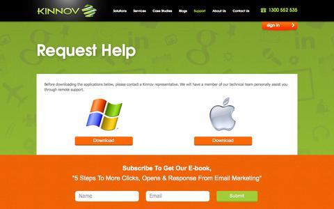 Screenshot of Support Page kinnov.com - Request Help - captured Sept. 30, 2014