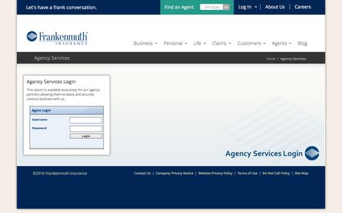 Screenshot of Login Page fmins.com - Frankenmuth Insurance - Agency Services - captured Oct. 23, 2016