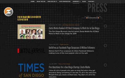 Screenshot of Press Page zeetomedia.com - Zeeto Media - captured Sept. 22, 2014