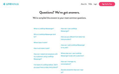 Screenshot of FAQ Page liveninja.com - FAQs - LiveNinja - Messenger Customer Service - captured May 3, 2016