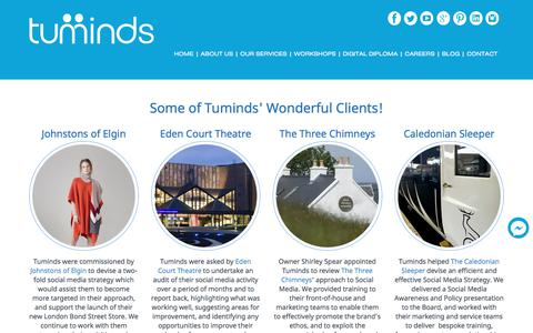 Screenshot of Case Studies Page tuminds.com - Clients and Cases Studies - Eden Court Theatre and more...Tuminds Social Media Training Scotland - captured Nov. 3, 2017