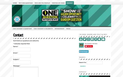 Screenshot of Contact Page onequestioninterviews.com - Contact - captured Nov. 18, 2016