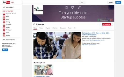 Screenshot of YouTube Page youtube.com - EL Passion  - YouTube - captured Oct. 22, 2014