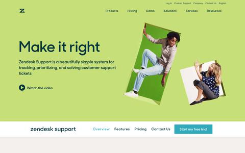 Screenshot of Products Page zendesk.com - Customer Service & Ticket Software with Zendesk Support - captured Oct. 25, 2017