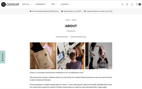 Screenshot of About Page o2wear.com - About Us - Bamboo Clothes - O2wear Australia Online Store - captured Nov. 6, 2018