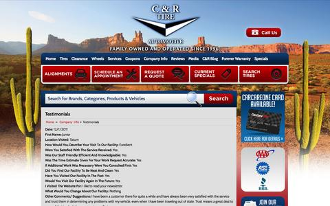 Screenshot of Testimonials Page candrtire.com - Testimonials C & R Tire - Phoenix, AZ - captured Oct. 1, 2014