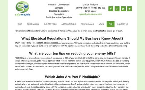 Screenshot of FAQ Page safe-electric.com - FAQ – Great Tips and Knowledge From the Professionals - captured Oct. 1, 2018