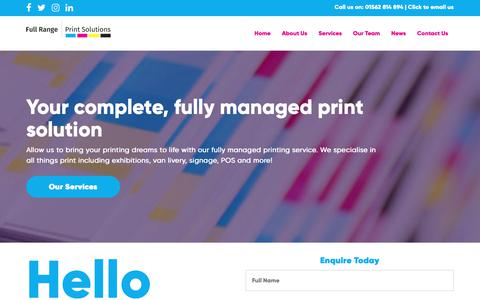 Screenshot of Home Page fullrangeprintsolutions.co.uk - Home - Full Range Print Solutions - captured Nov. 14, 2018