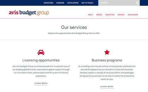 Screenshot of Services Page avisbudgetgroup.com - Services – Avis Budget Group - captured Feb. 12, 2019