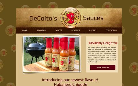 Screenshot of Home Page decoitos.com - Decoitos Sauce - captured Oct. 5, 2014