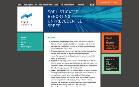 Screenshot of Services Page vividreports.com - Services - Vivid Reports - captured Oct. 27, 2014