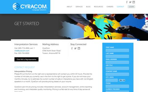 Screenshot of Contact Page cyracom.com - Get Started - Interpretation and Translation Solutions - captured Sept. 30, 2014