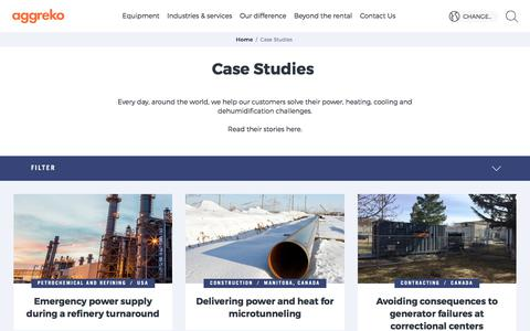 Screenshot of Case Studies Page aggreko.com - Case Studies | Aggreko - captured July 1, 2018