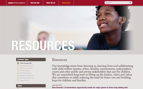 Screenshot of Case Studies Page casey.org - Resources | Casey Family Programs - captured Oct. 2, 2014