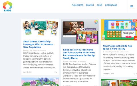 Screenshot of Case Studies Page kidoz.net - Case Studies Archives - KIDOZ - The world's largest mobile network for kids - captured July 13, 2018