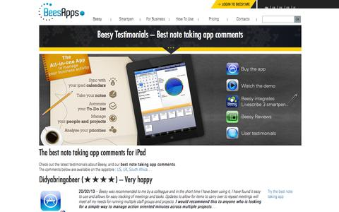 Screenshot of Testimonials Page beesapps.com - The Best Note Taking App for iPad - Review - captured Dec. 31, 2015