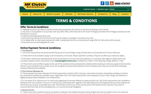 Screenshot of Terms Page mrclutch.com - Terms & Conditions   Mr Clutch Autocentres - captured Jan. 18, 2016