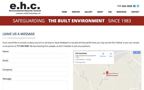 Screenshot of Contact Page ehcassociates.com - Contact Us | Lancaster, PA | EHC Associates - captured July 9, 2017